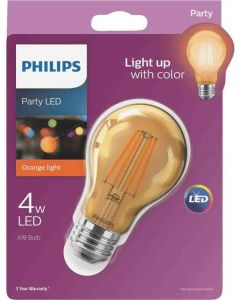 Philips 538215 A19 LED Bulb - 4A19/LED/ORANGE/G/E26/ND 6/1BC 120V
