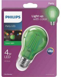 Philips 538249 A19 LED Bulb - 4A19/LED/GREEN/G/E26/ND 6/1BC 120V