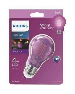 Philips 538256 A19 LED Bulb - 4A19/LED/PURPLE/G/E26/ND 6/1BC 120V